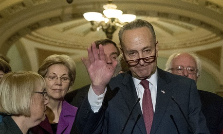 Sen. Chuck Schumer, D-N.Y., speaks to reporters Wednesday after being chosen as Senate Minority Leader.