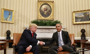 President Barack Obama and President-elect Donald Trump shake hands following their meeting in the Oval Office of the White House in Washington on Nov. 10.