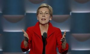 Sen. Elizabeth Warren, D-Mass., speaks during the first day of the Democratic National Convention in July. She is seeking a GAO investigation of the transition.