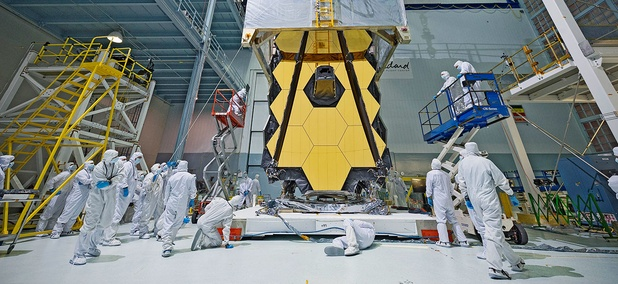 A clean tent protects Webb when engineers at NASA's Goddard Space Flight Center in Greenbelt, Maryland transport the next generation space telescope out of the relatively dust-free cleanroom and into the shirtsleeve environment of test areas.
