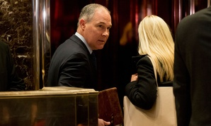 Oklahoma Attorney General Scott Pruitt arrives at Trump Tower for a meeting Wednesday.