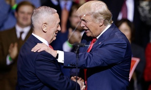 Donald Trump introduces retired Marine Corps Gen. James Mattis on Tuesday in Fayetteville, North Carolina.