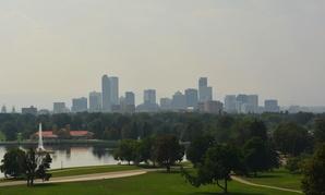 A hazy day in Denver, Colorado.