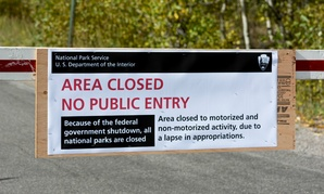 A sign at the entrance to the Grand Tetons National Park in Wyoming on Oct. 1, 2013, during a government shutdown.