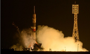 The Soyuz MS-03 spacecraft launches from the Baikonur Cosmodrome. NASA astronaut Peggy Whitson was among the crew members.