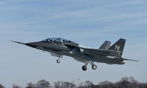 The Boeing and Saab pilot training jet flies for the first time on Dec. 20, 2016, in St. Louis.