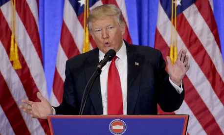 President-elect Donald Trump gives a news conference Wednesday.