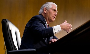 Rex Tillerson gestures while testifying on Capitol Hill, Wednesday, Jan. 11.