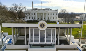 The presidential reviewing stand is ready for Trump's inaugural parade Friday.
