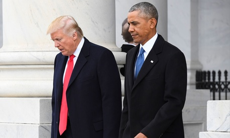 Donald Trump and Barack Obama walk together after the inauguration.