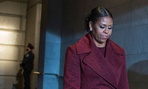 Michelle Obama walks toward the platform during the  inauguration Friday.