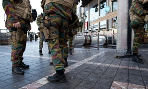 Belgium Army and police at Porte de Namur metro station in Brussels as part of security lock-down following terrorist threats on Nov. 23, 2015.
