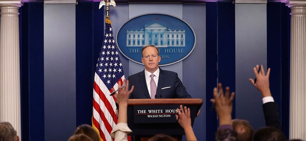 """White House press secretary Sean Spicer referred to a recent """"dramatic expansion of the federal workforce"""" in a press conference."""