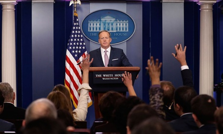 "White House press secretary Sean Spicer referred to a recent ""dramatic expansion of the federal workforce"" in a press conference."