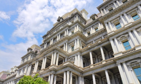 The  Eisenhower Executive Office Building in Washington, D.C. is shown.
