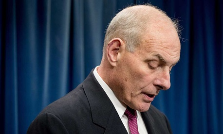 Homeland Security Secretary John Kelly pauses while speaking at a news conference at the U.S. Customs and Border Protection headquarters in Washington on Tuesday.