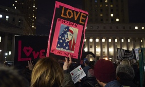 Protesters demonstrate in New York on Feb. 1 against Trump's executive order.