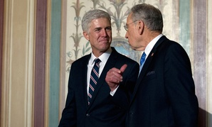 Supreme Court Justice nominee Neil Gorsuch, left, meets with Senate Judiciary Committee Sen. Chuck Grassley, R-Iowa, on Feb. 1.