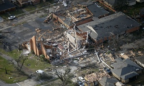 Damage in eastern New Orleans from Tuesday's tornadoes.