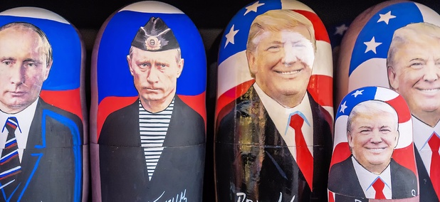 Matryoshka with a portrait of Putin and Trump are sold in Moscow in December.