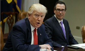 President Trump speaks during a meeting Wednesday on the budget, as Treasury Secretary Steven Mnuchin listens.