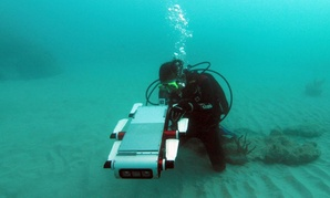 "Yogesh Girdhar, a researcher at Woods Hole Oceanographic Institute, swims with a ""curious"" robot he helped build."