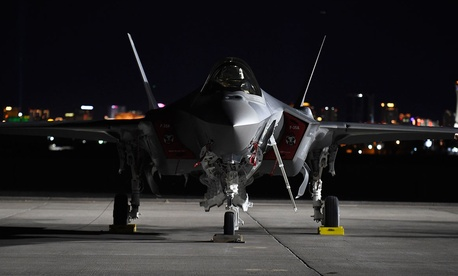 An F-35A Lightning II from the 388th Fighter Wing, Hill Air Force Base, Utah, sits on the flightline at Nellis AFB, Nev., during Red Flag 17-1, Jan. 24, 2017.