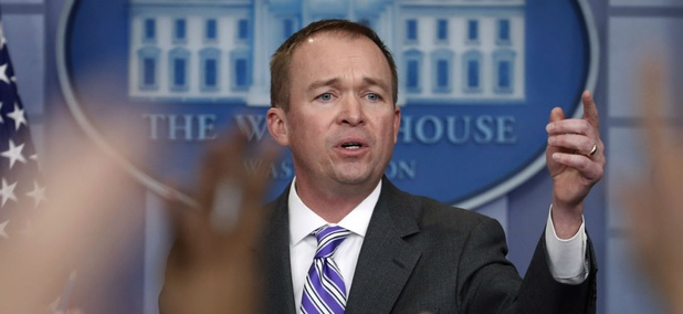 OMB Director Mick Mulvaney speaks to reporters Monday. Lawmakers will have a hard time enacting the cuts proposed by Mulvaney and Trump, observer predicts.
