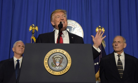 President Trump addresses employees of the Homeland Security Department on Jan. 25.