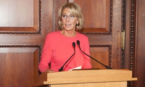 Betsy DeVos speaks at the HBCU Luncheon at Library of Congress in February.