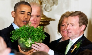 Ireland's Enda Kenny gave Barack Obama a crystal presentation bowl filled with shamrocks in 2016.