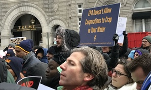 EPA employees and supporters protest proposed funding cuts in Washington on March 15.