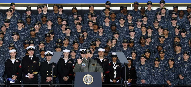 President Donald J. Trump speaks with Sailors in the hangar bay aboard Pre-Commissioning Unit Gerald R. Ford on March 2.