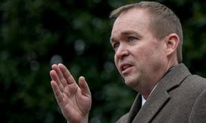 Budget Director Mick Mulvaney speaks outside the West Wing of the White House on Monday.