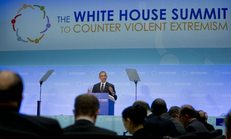 President Barack Obama speaks at the White House Summit on Countering Violent Extremism at the State Department in February 2015.