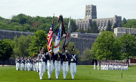 The cadets color guard walks on the West Point Campus in 2001.