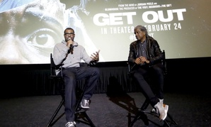 "Director/Writer Jordan Peele and Elvis Mitchell attend a ""Get Out"" special screening question and answer session in February."