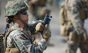 Women training as a U.S. Marine Corps Female Engagement Team train in 2016.