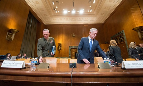Defense Secretary James N. Mattis and Marine Corps Gen. Joseph F. Dunford Jr., chairman of the Joint Chiefs of Staff, speaks before the U.S. Senate Committee on a review of the budget and readiness of the Department of Defense hearing Wednesday.