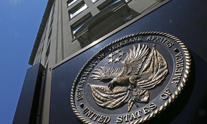 The seal affixed to the front of the Department of Veterans Affairs building in Washington.