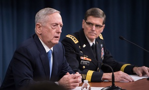 Secretary of Defense Jim Mattis and U.S. Army Gen. Joseph Votel, the commander of U.S. Central Command, brief the press at the Pentagon in Washington, D.C., April 11, 2017.