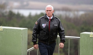 Mike Pence arrives at Observation Post Ouellette in the Demilitarized Zone Monday.