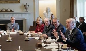 President Trump meets with his Cabinet in March.