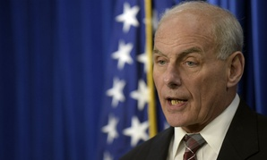 DHS Secretary John Kelly holds a press conference on the new office Wednesday.