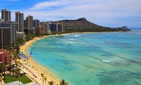 Waikiki Beach and Diamond Head Crater on the Hawaiian island of Oahu.