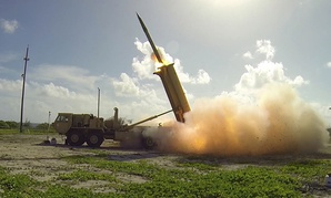 A Terminal High Altitude Area Defense (THAAD) interceptor is launched from a THAAD battery located on Wake Island, during Flight Test Operational in 2015.