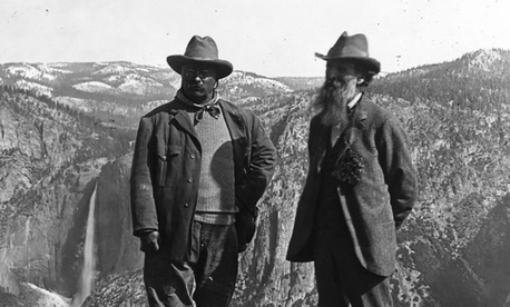 In 1903, Theodore Roosevelt camped in the Sierra Nevada mountains with John Muir.