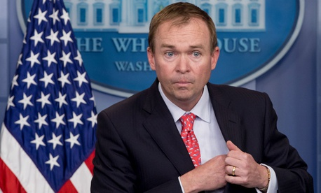 OMB Director Mick Mulvaney. OMB sent out an April memorandum calling on agencies to develop plans to reduce their civilian workforces and streamline their operations.