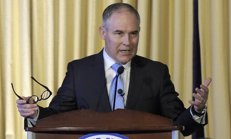 EPA Administrator Scott Pruitt speaks to employees in February.