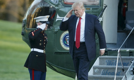 Trump steps off Marine One after returning from his Mar-a-Lago estate in Palm Beach, Fla.